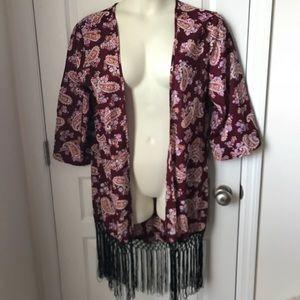 Alisha & Chloe Burgundy Paisley Kimono Fringe Trim